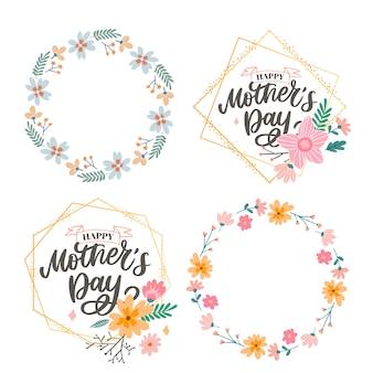 Lettrage de la fête des mères heureux. calligraphie à la main. carte de fête des mères avec des fleurs