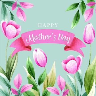 Lettrage de la fête des mères avec des tulipes roses