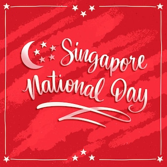 Lettrage de la fête nationale de singapour dessiné à la main illustration du festival teej dessiné