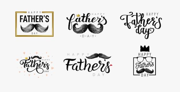 Lettrage de la fête des pères heureux. ensemble de calligraphie de la fête des pères heureux.