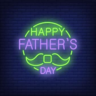 Lettrage de fête des pères heureux avec moustache. icône dans un style néon sur fond de briques.