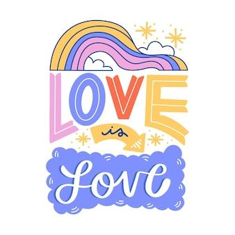 Lettrage de la fierté avec amour