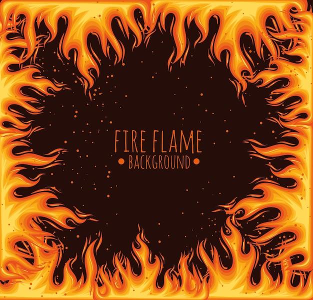 Lettrage de flamme dans le cadre