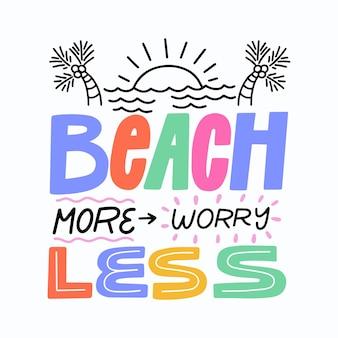Lettrage de fond d'été avec la mer