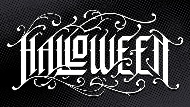 Lettrage gothique dessiné à la main d'halloween