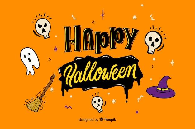 Lettrage d'halloween joyeux orange