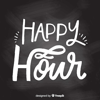 Lettrage de happy hour design plat sur tableau noir