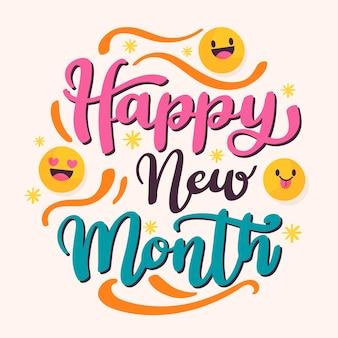 Lettrage `` happy new month '' avec des éléments plats organiques