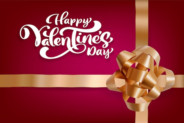 Lettrage de happy valentines day avec noeud d'or