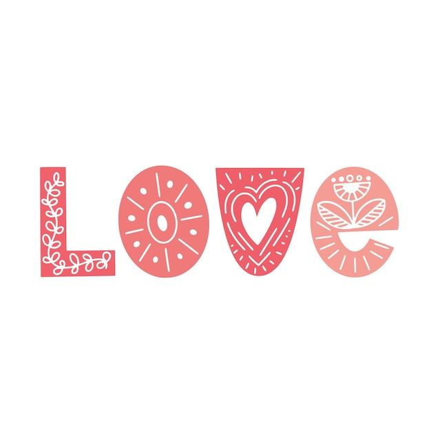Lettrage happy valentines day. typographie rose dans un style scandinave avec ornement floral. illustration vectorielle.