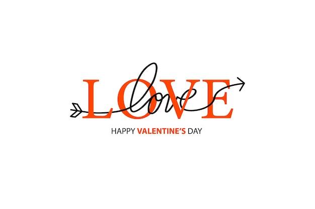 Lettrage Happy Valentines Day. Vecteur Premium