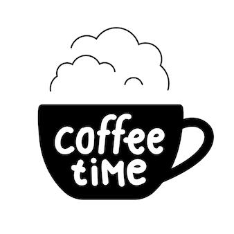 Lettrage de l'heure du café sur une tasse de vapeur pour le café du logo