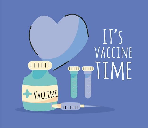 Lettrage de l'heure du vaccin