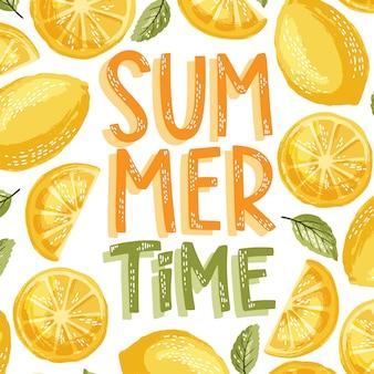 Lettrage de l'heure d'été et citron