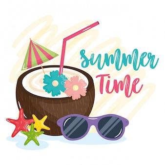 Lettrage de l'heure d'été avec des éléments de vacances