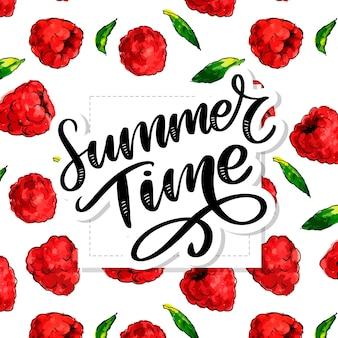 Lettrage de l'heure d'été avec des framboises aquarelle. illustration dessinée à la main