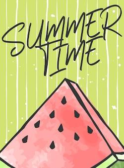 Lettrage de l'heure d'été avec la pastèque