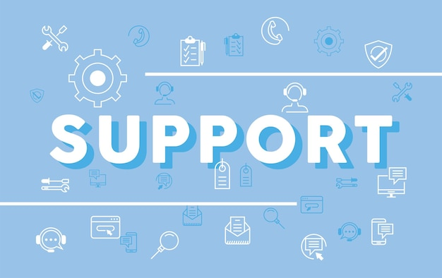 Lettrage et icônes de soutien