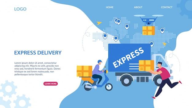 Lettrage informatif de livraison express de bannière.