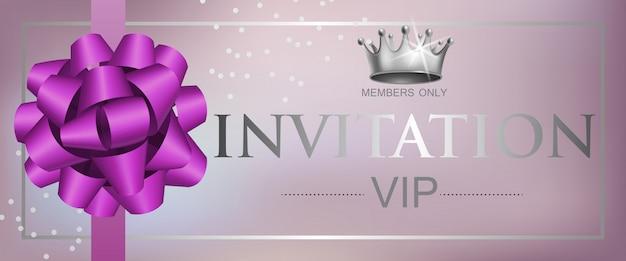 Lettrage d'invitation vip avec ruban arc et couronne