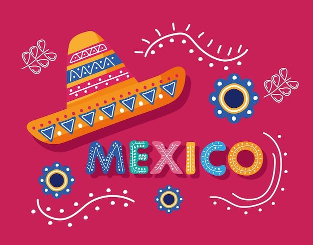 Lettrage de jour de célébration du mexique avec chapeau de mariachi
