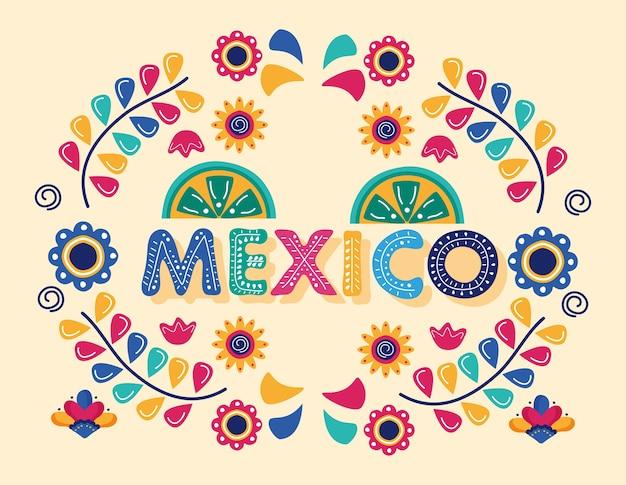 Lettrage de jour de célébration du mexique avec des citrons et des fleurs