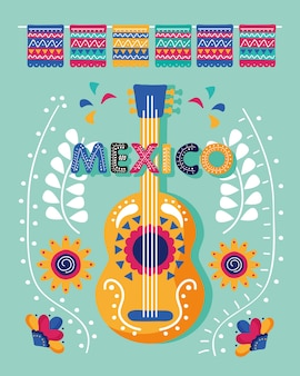 Lettrage De Jour De Célébration Du Mexique Avec Instrument De Guitare Vecteur Premium