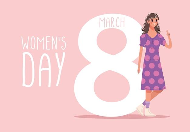 Lettrage de jour de femmes avec belle jeune femme heureuse illustration de marche