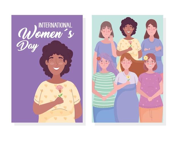 Lettrage de jour de femmes heureux avec illustration de filles interraciales