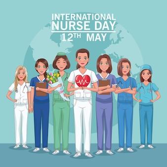 Lettrage de jour d'infirmière et infirmières