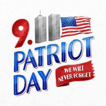 Lettrage de jour patriote aquarelle 9.11