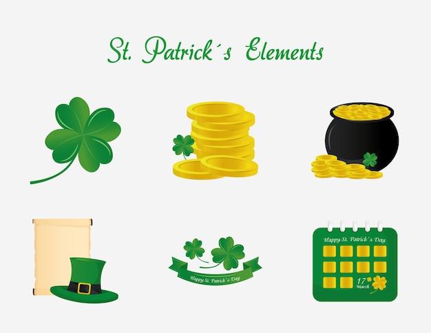 Lettrage de jour de saint patrick avec illustration de six icônes de paquet