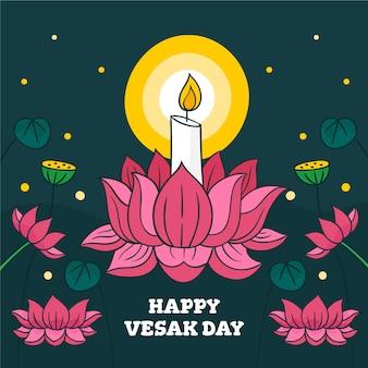 Lettrage de jour vesak heureux dessiné à la main