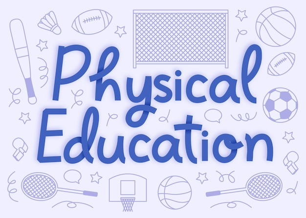 Lettrage de la journée de l'éducation physique dessiné à la main