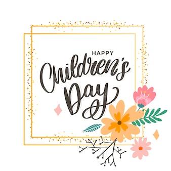Lettrage de la journée des enfants heureux