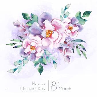 Lettrage de la journée des femmes avec de belles fleurs aquarelles
