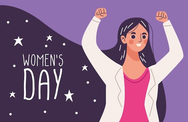 Lettrage de la journée des femmes, femme heureuse de célébrer avec les mains en l'air