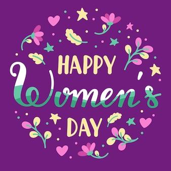 Lettrage de la journée internationale des femmes dessiné à la main