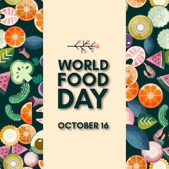 Lettrage de la journée mondiale de l'alimentation. 16 octobre
