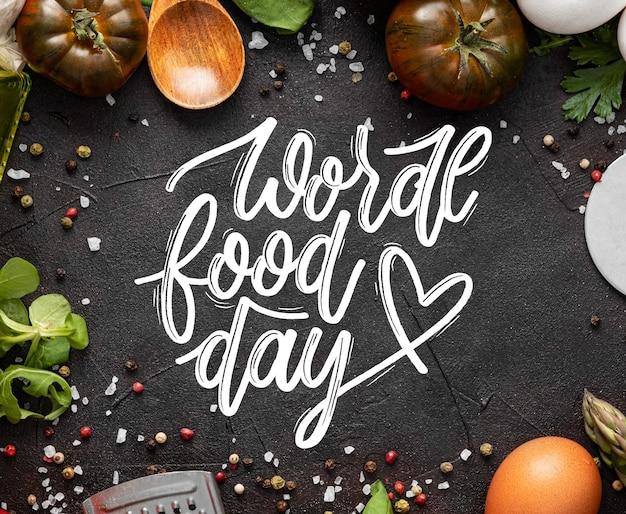 Lettrage de la journée mondiale de l'alimentation