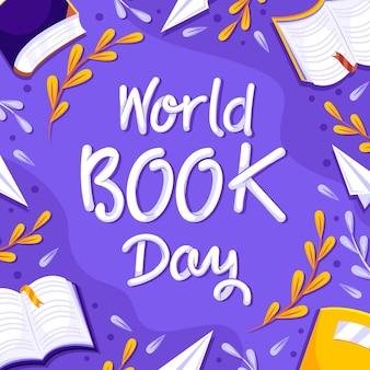 Lettrage De La Journée Mondiale Du Livre Vecteur Premium