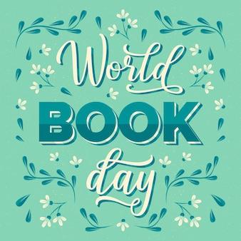 Lettrage De La Journée Mondiale Du Livre Vecteur gratuit