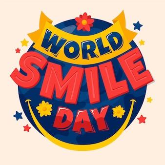 Lettrage de la journée mondiale du sourire avec des étoiles