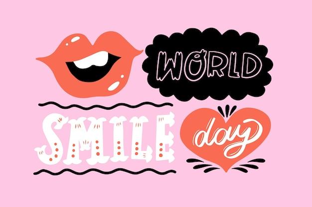 Lettrage de la journée mondiale du sourire avec des lèvres