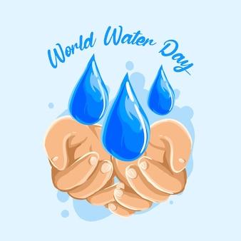 Lettrage de la journée mondiale de l'eau de couleur bleue
