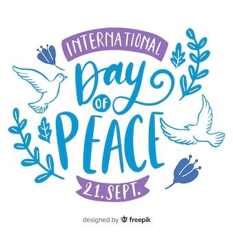 Lettrage de la journée de la paix universelle
