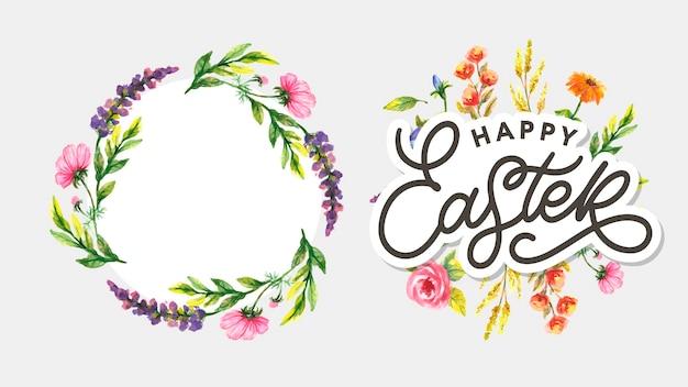 Lettrage joyeuses pâques avec des fleurs pour carte de voeux