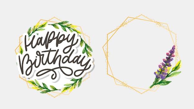 Lettrage de joyeux anniversaire avec des fleurs