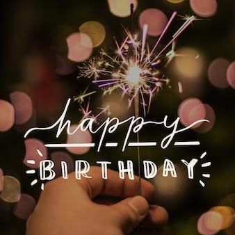 Lettrage de joyeux anniversaire avec photo