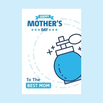 Lettrage joyeux fête des mères fond bleu